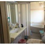 三面鏡のシャワー付き洗面台(風呂)